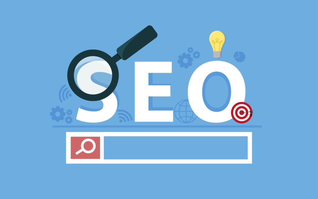 SEO concept art with blue background and search bar with magnifying glass.