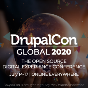 Concept art for DrupalCon Global 2020 with white lettering on a filtered image with the globe of Earth being held up by hands.