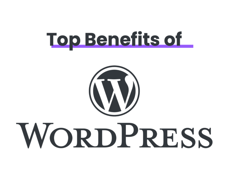 Top benefits of WordPress with WordPress logo in grey lettering on a white background.