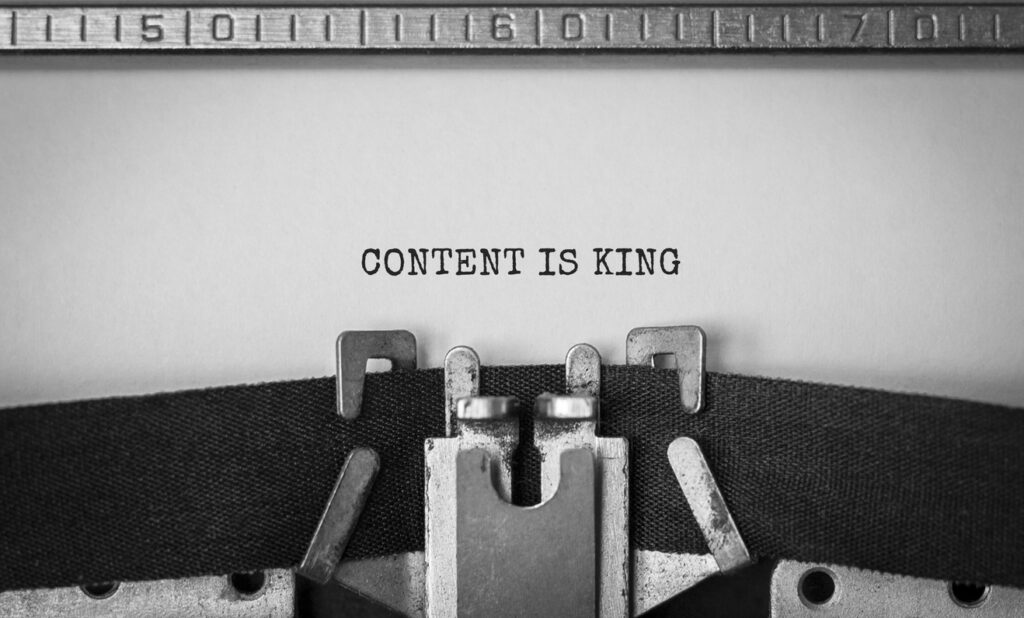 Content Is King Written by Typewriter